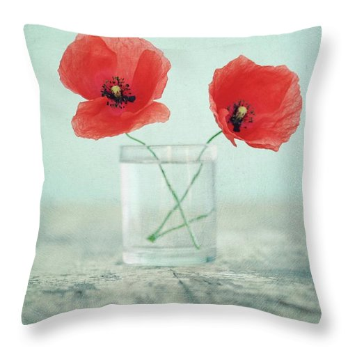 Bulgaria Throw Pillow featuring the photograph Poppies In A Glass, Still Life by By Julie Mcinnes