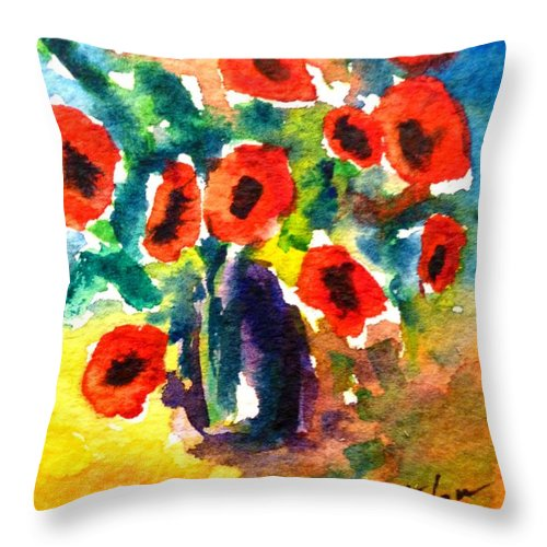 Vase Throw Pillow featuring the painting Poppies In A Vase by Cristina Stefan