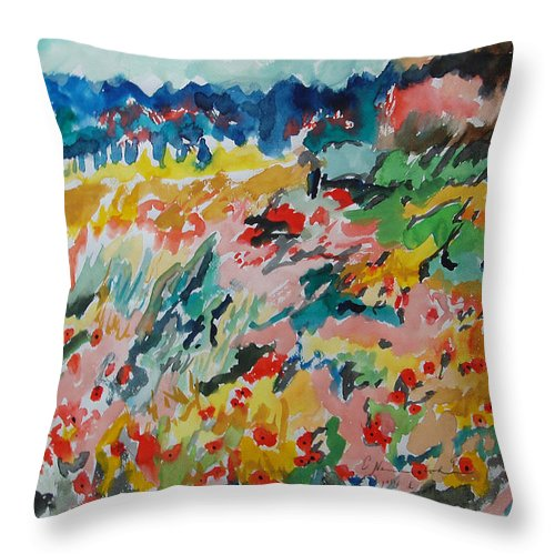 Poppies In Spring Throw Pillow featuring the painting Poppies In Spring by Esther Newman-Cohen