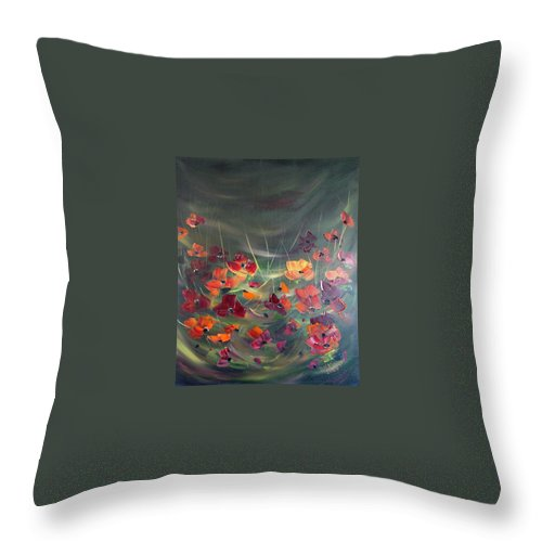 Poppies Throw Pillow featuring the painting Poppies In The Shadow by Dorothy Maier