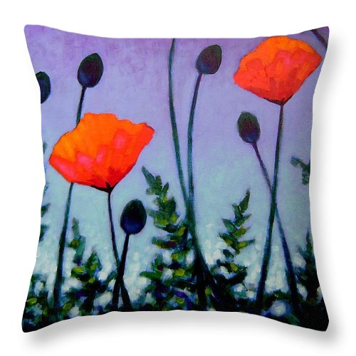 Acrylic Throw Pillow featuring the painting Poppies In The Sky II by John Nolan