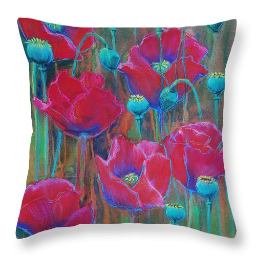 Flowers Throw Pillow featuring the painting Poppies by Jani Freimann