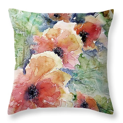 Floral Throw Pillow featuring the painting Poppies by Marisa Gabetta