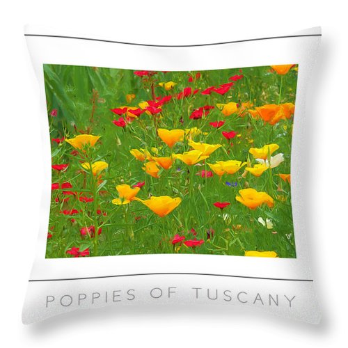 Tuscany Throw Pillow featuring the photograph Poppies Of Tuscany Poster by Mike Nellums