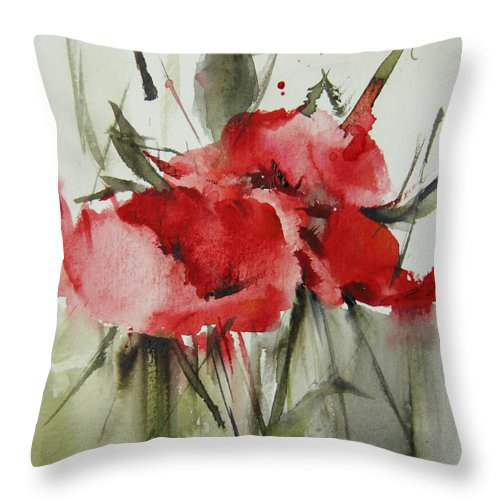Flowers Throw Pillow featuring the painting Poppy 1 by Annemiek Groenhout