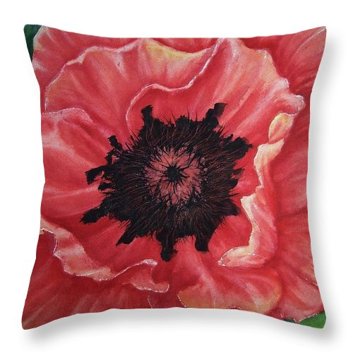 Poppy Throw Pillow featuring the painting Poppy by Conni Reinecke