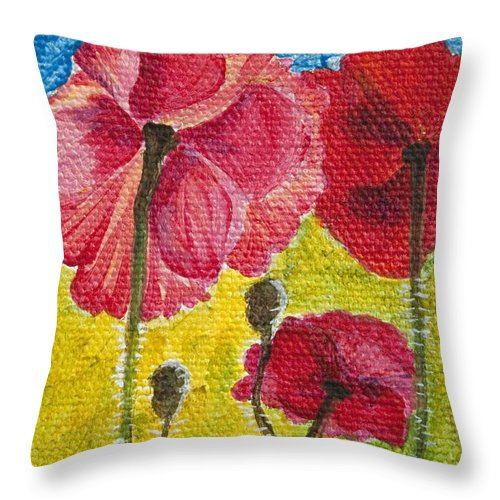 Poppies Throw Pillow featuring the painting Poppy Family by Jaime Haney