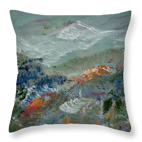 Mountain Throw Pillow featuring the painting Poppy Field by Edward Wolverton