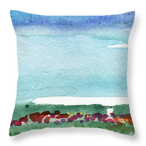 Poppies Throw Pillow featuring the painting Poppy Field- Landscape Painting by Linda Woods