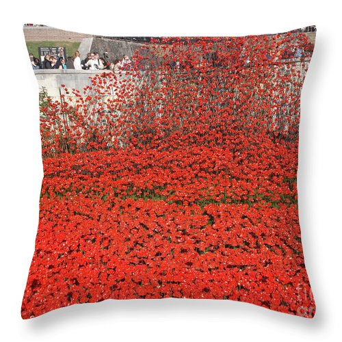 Poppy Throw Pillow featuring the photograph Poppy Tribute Of The Century. by Cynthia Adams