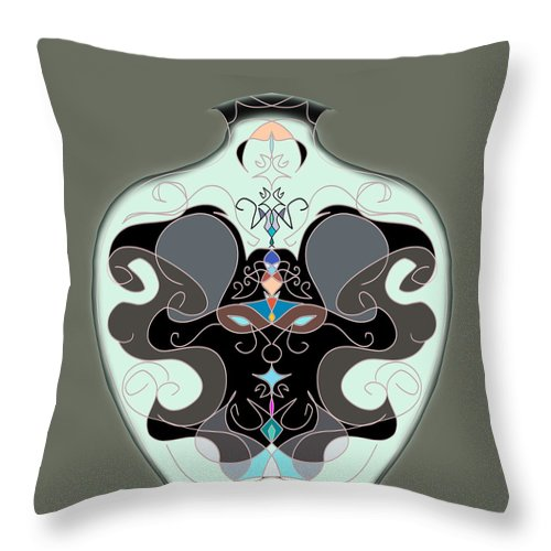 Vase Throw Pillow featuring the digital art Porcelain Vase by Len YewHeng