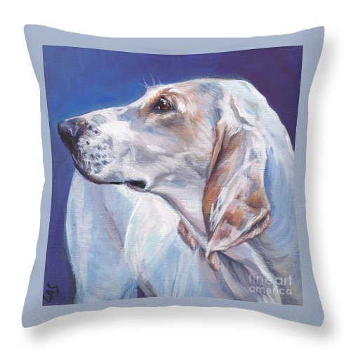 Porcelaine Throw Pillow featuring the painting Porcelaine Hound by Lee Ann Shepard