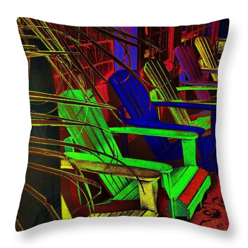Chairs Throw Pillow featuring the photograph Neon Porch Perches by Robert McCubbin