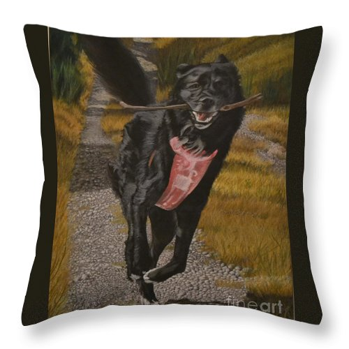 Dog Throw Pillow featuring the pastel Porche by John Huntsman