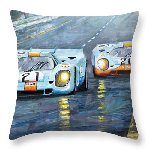 Automotive Throw Pillow featuring the painting Porsche 917 K Gulf Spa Francorchamps 1971 by Yuriy Shevchuk