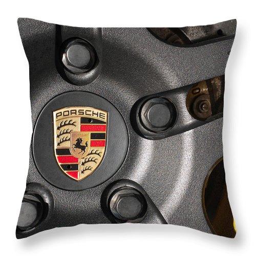 Hawaii Throw Pillow featuring the photograph Porsche Vorsteiner Wheel Logo by Dan McManus