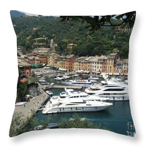 Port Throw Pillow featuring the photograph Port Of Portofino by Christine Huwer