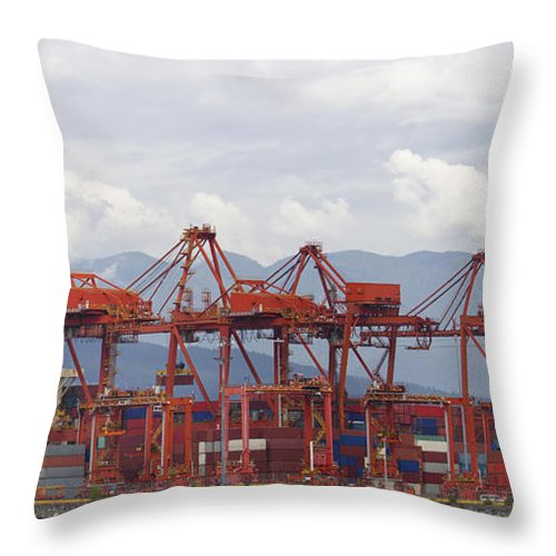 Vancouver Throw Pillow featuring the photograph Port Of Vancouver Bc Cranes And Containers by Jit Lim