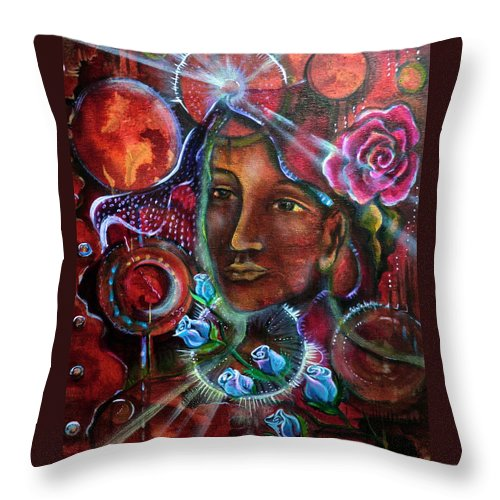 Throw Pillow featuring the painting Portals Of Change by Crystal Charlotte Easton