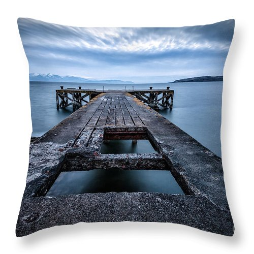Ayrshire Throw Pillow featuring the photograph Portencross Pier And Views To Arran by John Farnan