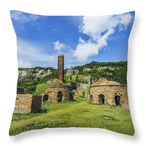 Old Throw Pillow featuring the photograph Porth Wen Brickworks V2 by Ian Mitchell