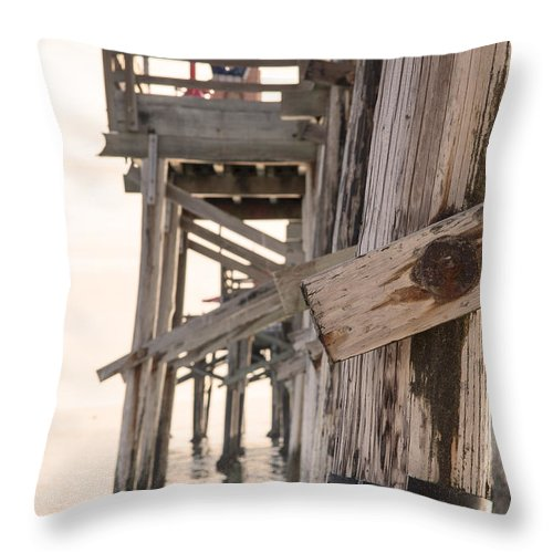 Balboa Pier Throw Pillow featuring the photograph Portion Of The Pier Balboa by Chris Brannen