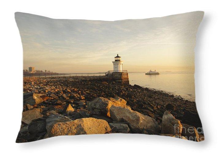 Atlantic Ocean Throw Pillow featuring the photograph Portland Breakwater Light - Portland Maine by Erin Paul Donovan