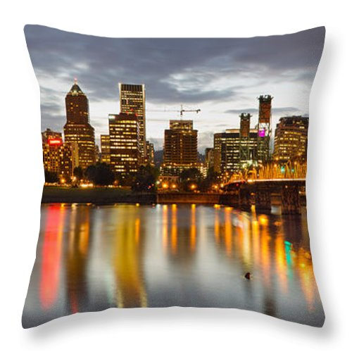 Portland Throw Pillow featuring the photograph Portland Downtown Skyline At Sunset by Jit Lim