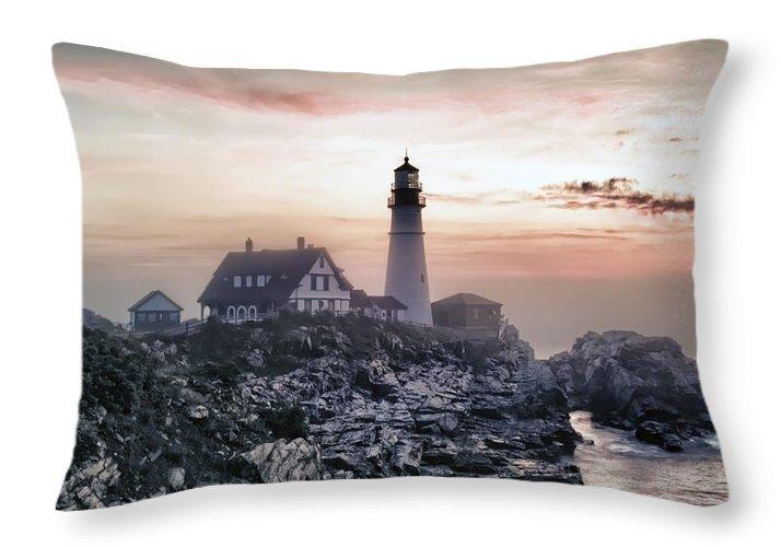 Architecture Throw Pillow featuring the photograph Portland Head Light Summer Sunrise by Richard Bean