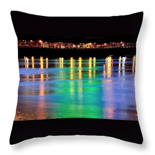 Portland Throw Pillow featuring the photograph Portland Lights 22971 F by Jerry Sodorff