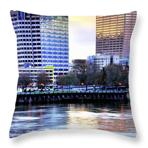 Portland Throw Pillow featuring the photograph Portland Reflections 22929 Hdr by Jerry Sodorff