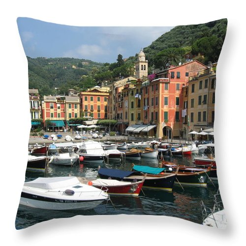 Portofino Throw Pillow featuring the photograph Portofino Port Entrance by Christine Huwer