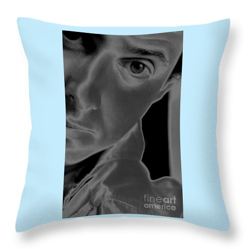 Portrait Throw Pillow featuring the photograph Portrait Figurative Study Piece Of Bobby As Solarised by Richard Morris