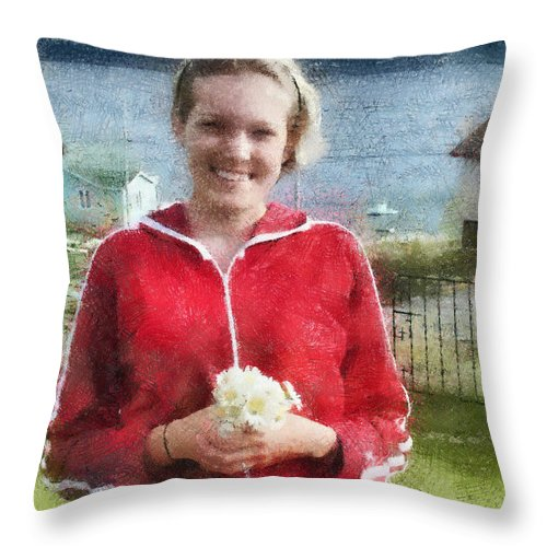 Canadian Throw Pillow featuring the painting Portrait In Newfoundland by Jeffrey Kolker