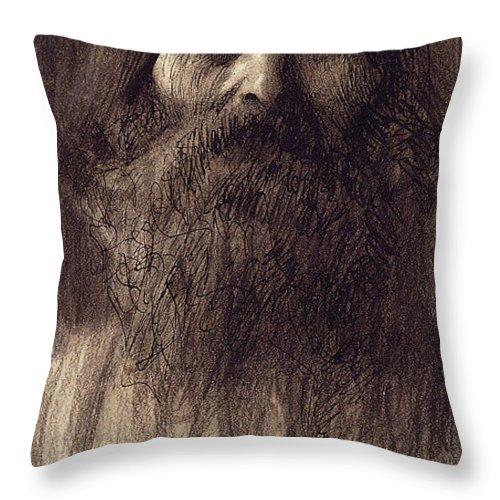 Gustav Klimt Throw Pillow featuring the pastel Portrait Of A Bearded Man by Gustav Klimt