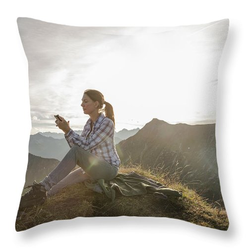 Mid Adult Women Throw Pillow featuring the photograph Portrait Of A Mid Adult Woman by Alan Graf