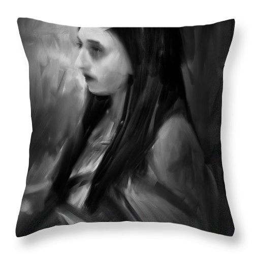 Woman Throw Pillow featuring the painting Portrait Of A Woman by H James Hoff