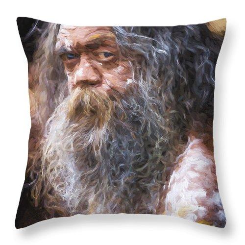 Australian Aboriginal Throw Pillow featuring the photograph Portrait of an aboriginal by Sheila Smart Fine Art Photography