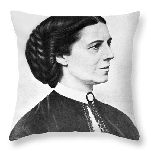 1 Person Throw Pillow featuring the photograph Portrait Of Clara Barton by Underwood Archives