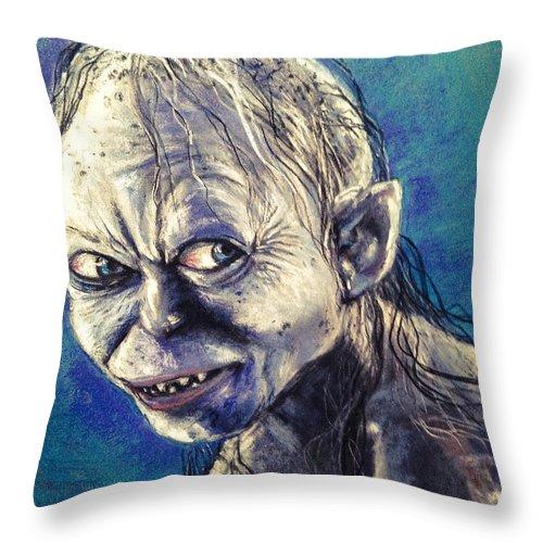 Gollum Throw Pillow featuring the pastel Portrait Of Gollum by Alban Dizdari