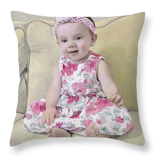 Maddie Throw Pillow featuring the painting Portrait Of Maddie by Guido Borelli
