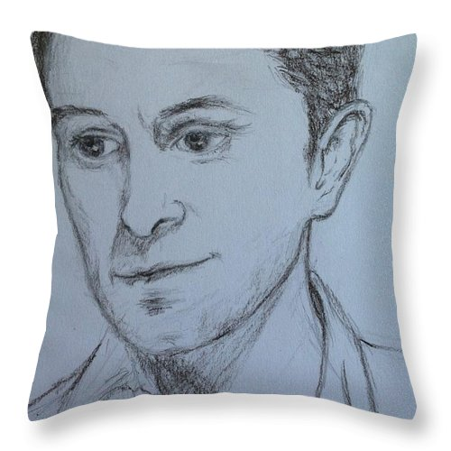 Celebrities Throw Pillow featuring the drawing Portrait Of Mark Owen by Joan-Violet Stretch