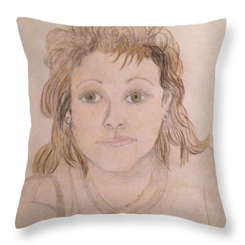 Portrait Of Woman Throw Pillow featuring the drawing Portrait Of Michie by Catherine Ratliff