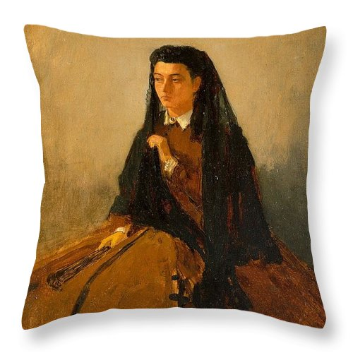 Winslow Throw Pillow featuring the painting Portrait Of Pauline 1867 by Philip Ralley