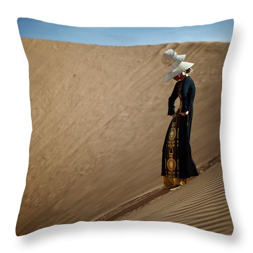 Adolescence Throw Pillow featuring the photograph Portrait Of Woman In Desert by Piskunov