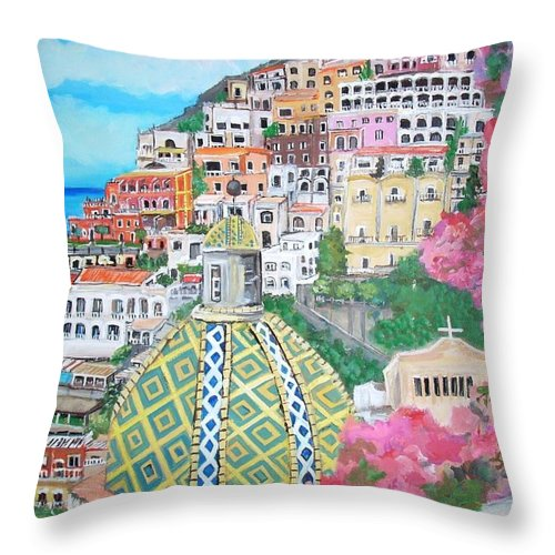 Positano Throw Pillow featuring the painting Positano by Teresa Dominici