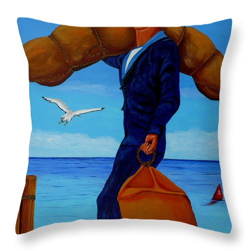 Sailor Throw Pillow featuring the painting Posted To Sea by Anthony Dunphy
