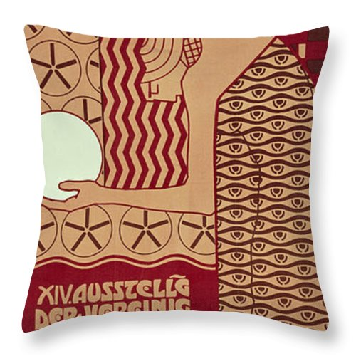 Fin De Siecle Throw Pillow featuring the painting Poster For The 14th Exhibition Of Vienna Secession, 1902 by Alfred Roller