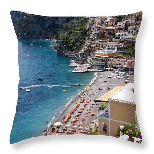 Postitano Italy Amalfi Coast Mediterranean Sea Seas Water Beach Beaches Boat Boats Building Buildings Structure Structures Architecture Landscape Landscapes Waterscape Waterscapes Cityscape Cityscapes City Cities Throw Pillow featuring the photograph Postitano Beach by Bob Phillips