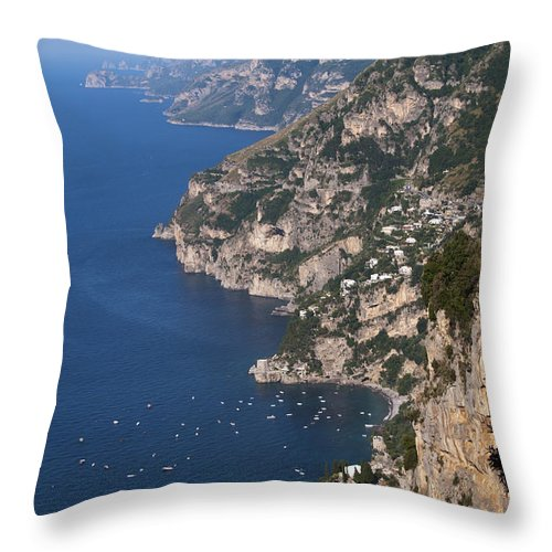 Postitano Italy Amalfi Coast Mediterranean Sea Seas Water Boat Boats Building Buildings Structure Structures Architecture Landscape Landscapes Waterscape Waterscapes Cityscape Cityscapes City Cities Throw Pillow featuring the photograph Postitano From Up High by Bob Phillips